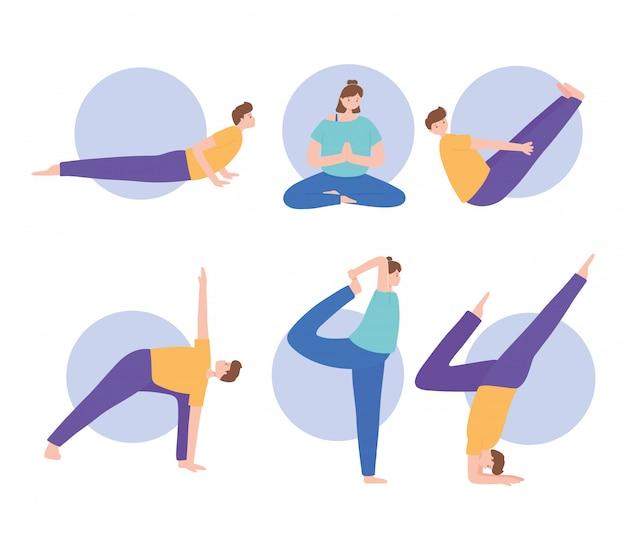 ヨガの異なるポーズの練習、健康的なライフスタイル、身体的および精神的な練習を設定する人々のセットの図