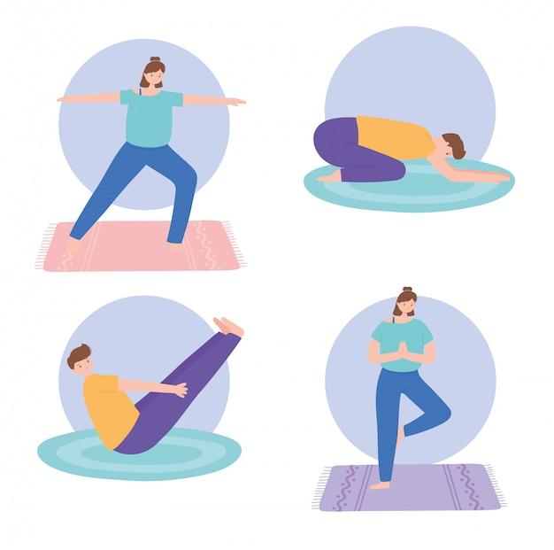 Люди, практикующие йогу, различные позы, упражнения, здоровый образ жизни, физические и духовные практики, набор иллюстраций