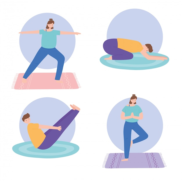 People practicing yoga different pose exercises, healthy lifestyle, physical and spiritual practice set  illustration