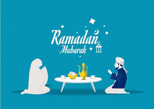 Люди молятся богу, прежде чем съесть пост рамадана карима иллюстратора.