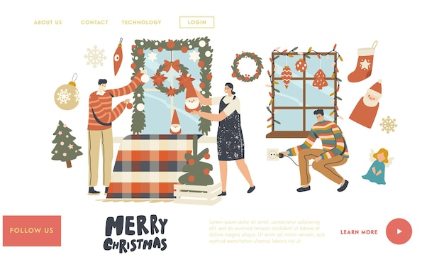 People prepare to celebrate xmas landing page template. happy characters decorate home for christmas. family or friends hang baubles, garland and fir tree wreath on window. linear vector illustration