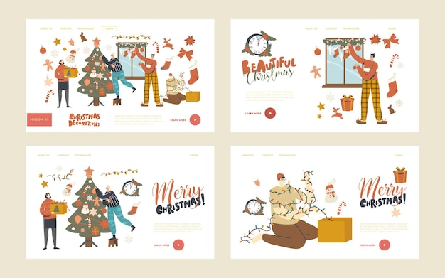People prepare to new year or xmas at home landing page template set. characters decorate christmas tree. family or friends hang baubles and garland on fir tree and window. linear vector illustration