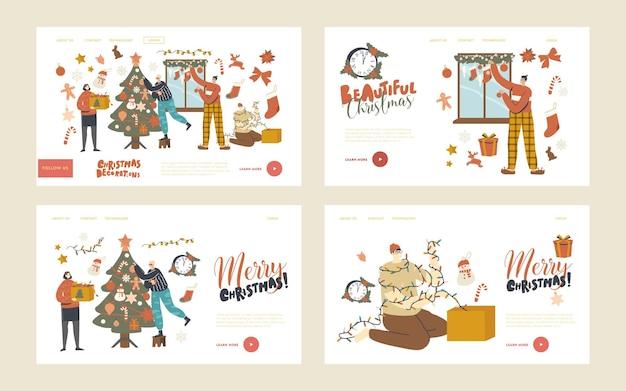 人々はホームランディングページテンプレートセットで新年やクリスマスの準備をします。キャラクターがクリスマスツリーを飾ります。家族や友人は、モミの木と窓につまらないものと花輪を掛けます。線形ベクトル図