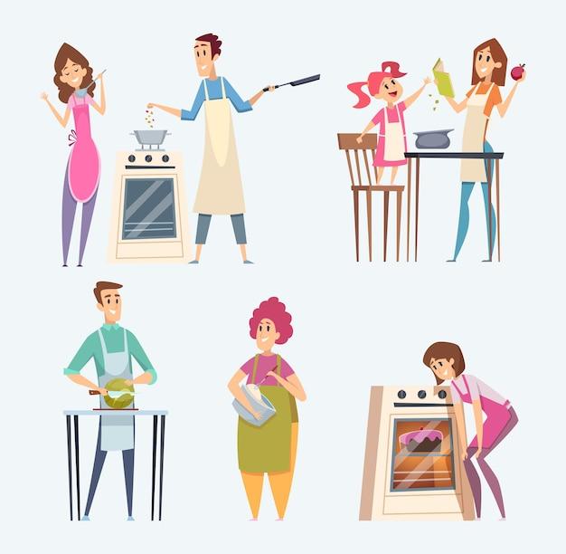 사람들이 부엌에서 음식을 준비하고 저녁 식사 세트를 제공합니다.