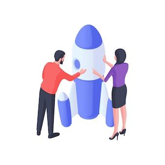 ロケットの等角図を打ち上げる準備をしている人。男性と女性のキャラクターは、白いパネルで青い宇宙船を検査します。革新的な開発コンセプトで新しいクリエイティブプロジェクトを開始します。