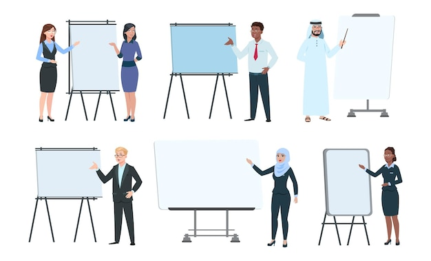 People and presentation boards. executives coaching, trainers or speakers. teachers on lecture. isolated business man woman near interactive screen, office manager promotion vector set illustration