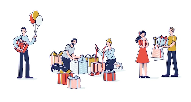 People presenting gifts set of cartoon characters wrapping and giving present boxes