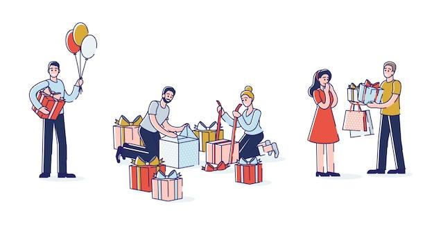 Люди представляют подарки набор мультипликационных персонажей, упаковывающих и дающих подарочные коробки