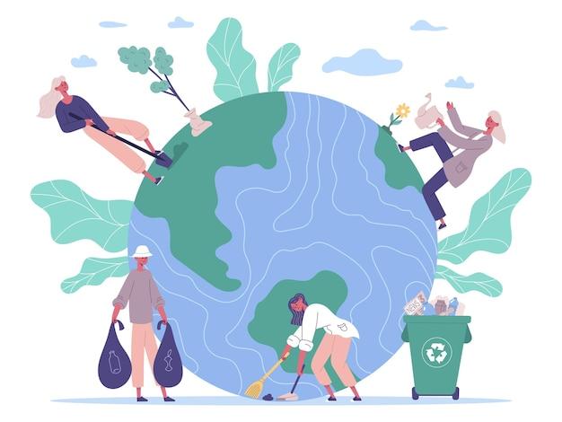 Люди защищают окружающую среду, заботятся о земле. защита экологии, волонтеры сажают и очищают окружающую среду векторные иллюстрации. концепция защиты природы