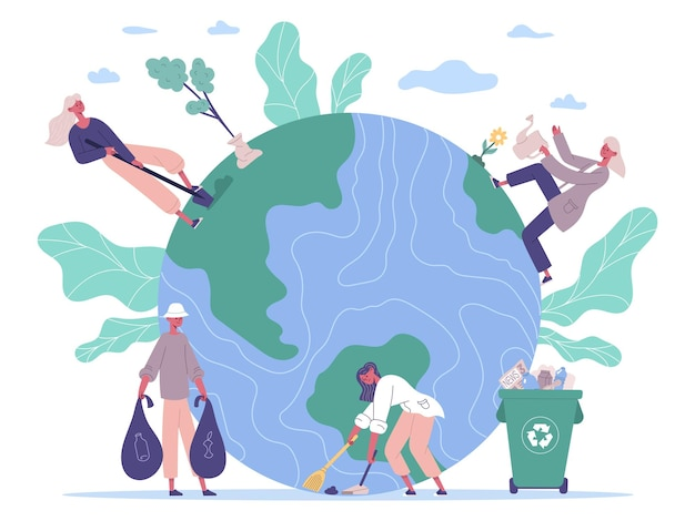 People protecting environment, take care about earth. ecology protect, volunteers planting and cleaning environment vector illustration. nature protect concept