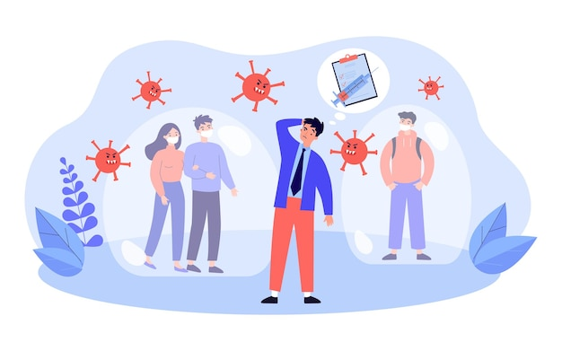 People protecting health by vaccination and wearing mask. virus cells attacking man without mask flat vector illustration. coronavirus protection concept for banner, website design or landing web page