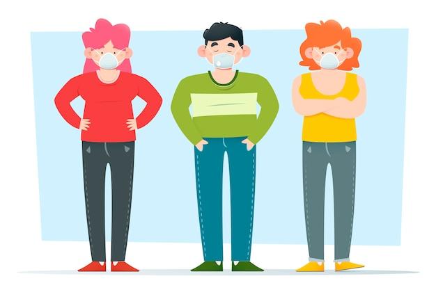 医療用マスクを着用して身を守る人々