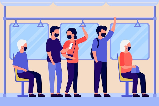 People in protective face mask stand and sit in transport subway