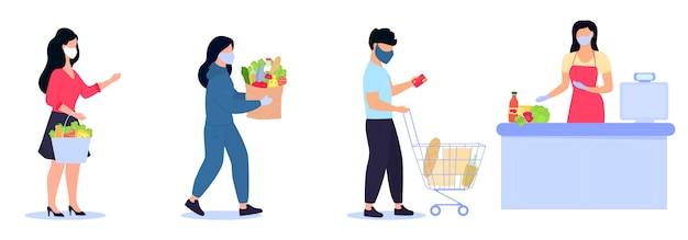 People in protective masks are in the queue to the cashier keeping social distance. safe shopping during the quarantine of the coronavirus covid-19 epidemic