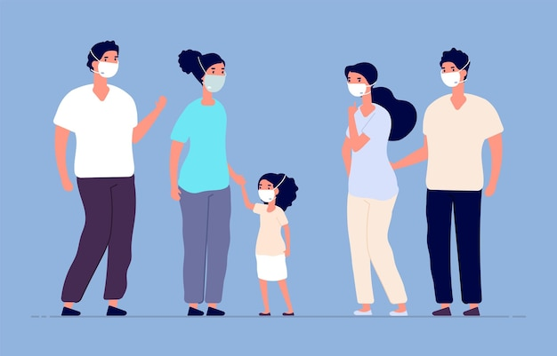 People in protective masks. dust mask, virus flu family protection. healthy careful adults and child, friends meeting in danger period. world epidemic prevention vector illustration