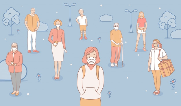 People in protective masks standing outdoor in urban park cartoon outline illustration. city smog, fine dust.