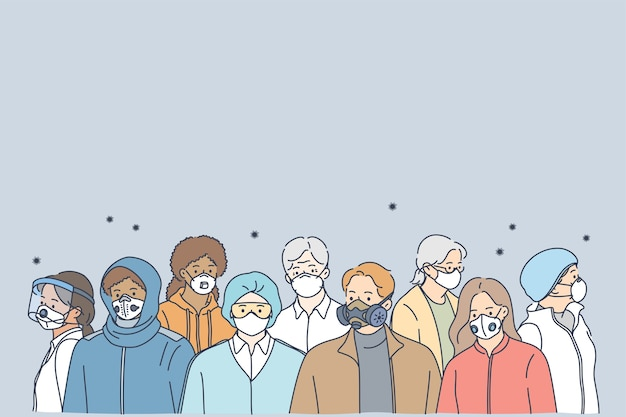 People in protective medical masks, new normal social reality concept