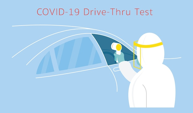 People in protective suit use thermoscan to check , coronavirus, drive thru test