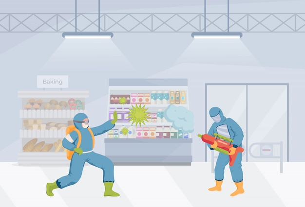 People in protective suits clean grocery shop flat illustration. cleaners fight against coronavirus cells.