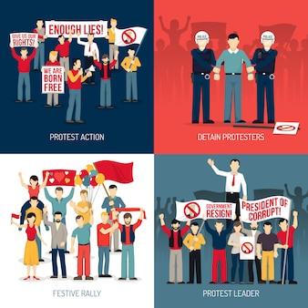 Set di carte di protesta persone