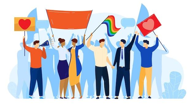 People protest, lgbt pride activism concept  illustration.