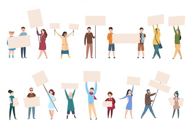 人々は抗議します。政治的兆候のバナーとプラカードを持つ男性女性活動家。政治活動家のキャラクター