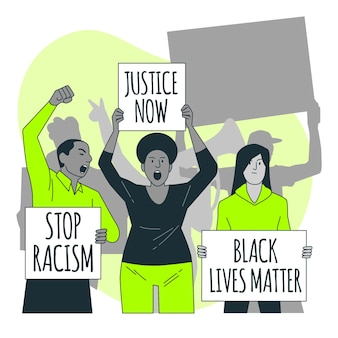 인종 차별주의 개념 그림에 항의하는 사람들