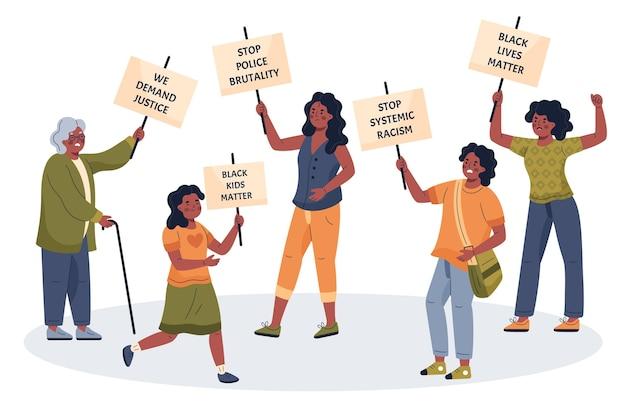 人種差別に反対して抗議する人々