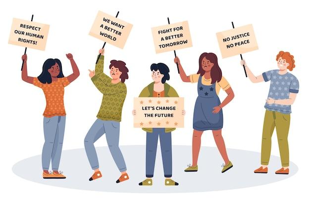 Люди вместе протестуют за хорошее дело