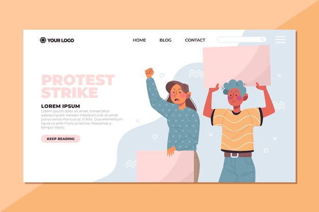 People protesting with placards landing page