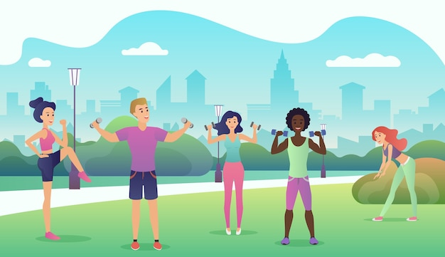 People in the public park doing fitness. sports outdoor activities flat design  illustration. women doing yoga, stretching, fitness outside