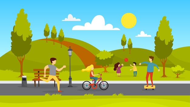 People in the public park. jogging and playing