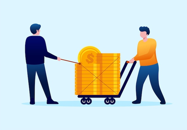 People pulling gold coins. profit and revenue concept. landing page illustration flat vector