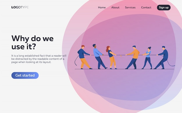 People pulling opposite ends of rope flat illustration. landing page or web template