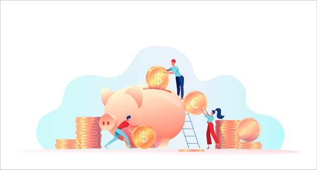 People put coins in piggy bank. investment concept