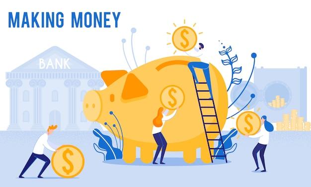 People put money in piggy bank