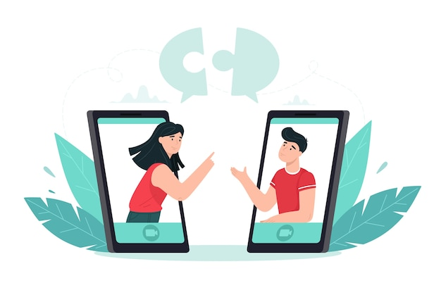 People put together puzzle pieces. concept illustration of collaboration and teamwork online via videoconferencing application.  in flat style.