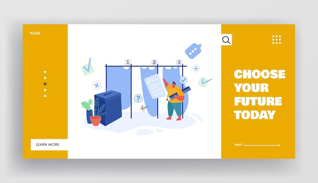 People putting paper vote into ballot box. male character, execute rights and duties in political life of country website landing page, web page. cartoon flat , banner