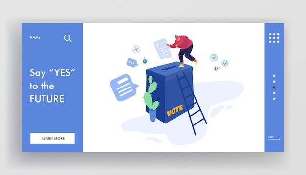 People putting paper vote into ballot box. male and female characters, execute rights and duties in political life of country website landing page, web page. cartoon flat , banner