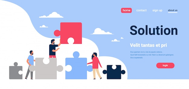 People putting parts of puzzle problems solution man woman team working concept horizontal flat copy space vector illustration