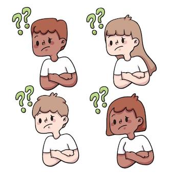 사람들이 질문 귀여운 만화 일러스트 레이 션 설정