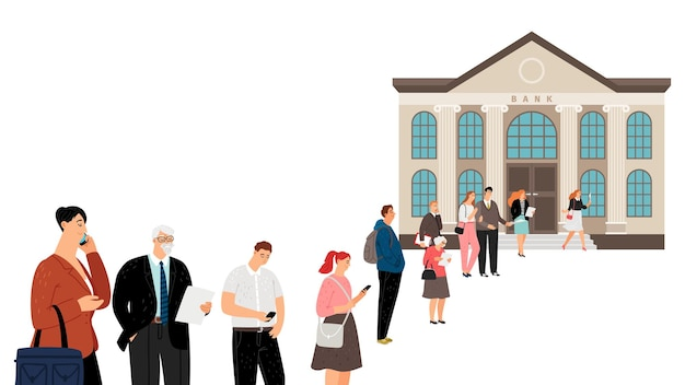 Люди выстраиваются в очередь в банке. толпа в очереди, социальная дистанция. пары мужчины-женщины нуждаются в наличных деньгах, выплатах или государственных субсидиях. иллюстрация финансового кризиса и банковских проблем