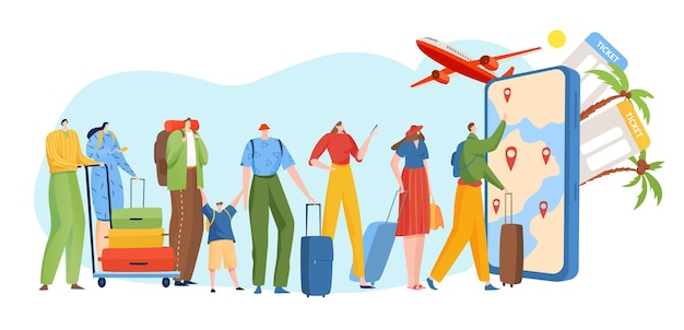Люди в очереди онлайн-туристических услуг
