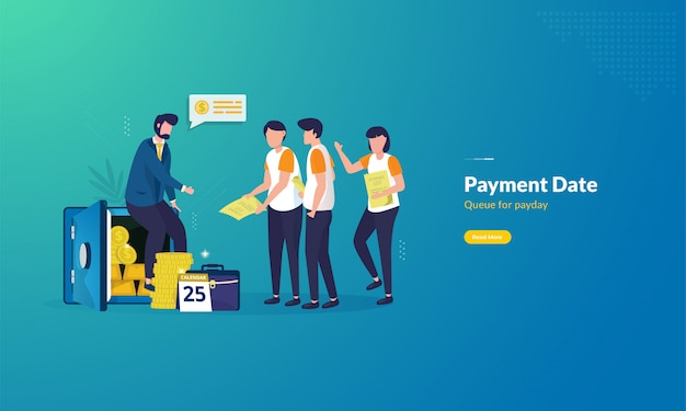 People queued to receive salary cash for payday illustration concept