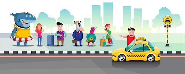 市内のタクシー乗降場でタクシーに列を作っている人