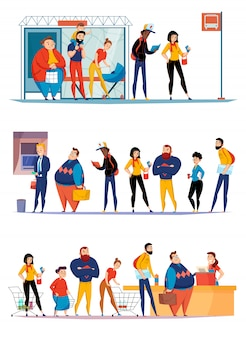 Люди, стоящие в очереди в супермаркете, ожидающие покупки в автобусе, выстраиваются в очередь за банкоматом плоские горизонтальные наборы иллюстрации