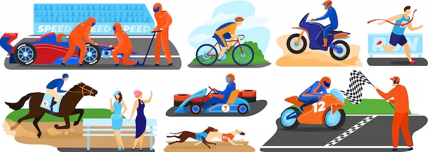 People racing  illustration set, cartoon  sportsman character running cycling, finishing first in sport race, driving car