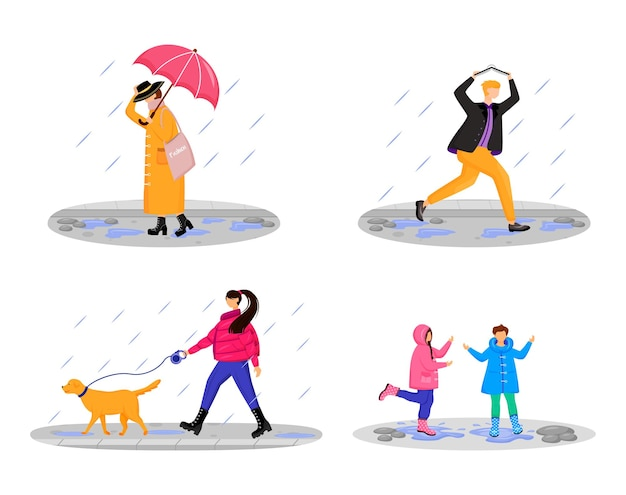 People in rain flat color faceless characters set