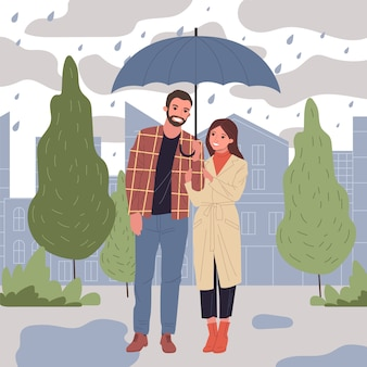 People in rain  illustration
