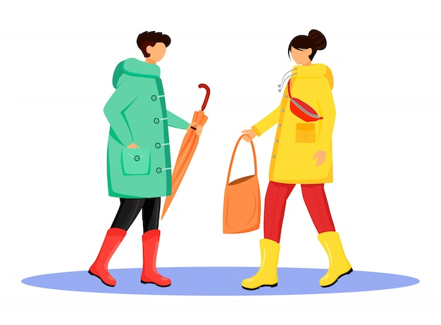 People in raincoats flat color faceless character. walking caucasian humans in gumboots. rainy day. guy with umbrella and girl with handbag isolated cartoon illustration on white background